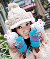 Wholesale 2015 Winter New rabbit head gloves thickening woolen gloves lovely hang neck mittens women s gloves