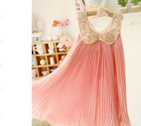 Wholesale NEW ARRIVAL new fashion chiffon toddler girl dresses Sequin Fold beautiful