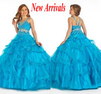 Wholesale 2013 Newest Halter Ball Gown Flower Girl Dresses Beadings Ruffles Organza Girl s Pageant Dresses