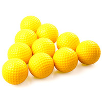 Wholesale 10pcs set Yellow Soft Elastic Indoor Practice PU Golf Balls golf exercise ball Training Aid H8876