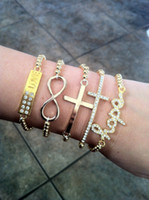 Wholesale Hot plating Gold Sideways Love Hope Cross Infinity Bracelet Rhinestone Crystal Handmade