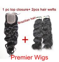 Brazilian Hair 14 #1B Mixed sales Brazilian virgin human hair extensions 2 pcs and 1pc silk base closure natural wave 1B#