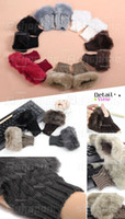 Wholesale Women Faux Rabbit Fur Hand Wrist Winter Warmer Knitted Fingerless Gloves