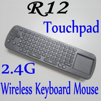 Wholesale Touchpad Mini Fly Air Mouse RC12 GHz Wireless Keyboard for android Mini PC TV Box