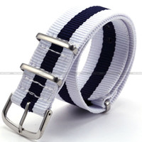 Wholesale Nylon Sport Watch Band Straps KS mm Fashional White amp Blue Army Militray Watchbands WB2011