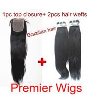 Brazilian Hair 14 #1B Mixed sales Brazilian virgin human hair extensions 2 pcs and 1pc silk base closure light yaki 1B#
