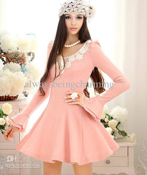 2013 Fashion Women Sweet Casual Dress Korean Flowers V Neck Waist Wool    Fashion Casual Dress 2013