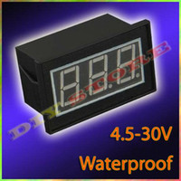 Wholesale 10pcs Mini DC4 V V Red waterproof Digital Voltmeter Volt Panel Meter