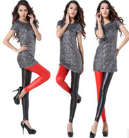 Women Skinny,Slim Christmas Trendy Black Red White Lady Girl Faux Leather Stretch Leggings Tights Pants