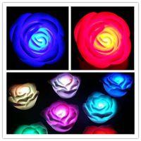 Wholesale Rose Romantic Flower LED light Changing Seven Colors Rose Flower LED Candle lights