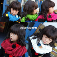 Wholesale 2012 winter children s clothing Korean girls candy color hair ball scarf children scarf knitted scar
