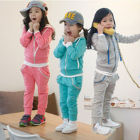 Wholesale Children s suits Girls hooded zipper shirt trousers boys and girls track suit
