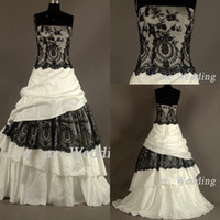 black and white dress - Custom Made New Strapless Lace Wedding Dresses Black and Ivory Floor length Taffeta Style