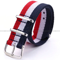 Wholesale Watch Strap Band Nylon Striped Outdoor Sport Watchbands Red White Blue Army WB2016