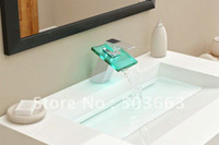 Brass big basin - NEW LED Colorful Light Big Waterfall Faucet Chrome NO Need Battery Powered Mixer Basin Sink Brass Ta