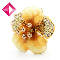 Wholesale Neoglory Charm Rhinestone Flower Rings for Female Adjustable Jewelry Wedding Valentine Gifts
