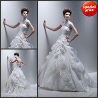 Reference Images Portrait chiffon satin Hot Sale!! New Sexy Strapless With Small High-neck Jacket Flower Chiffon Satin Lace Wedding Dress