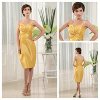 Splendid Spaghetti strap Pleat Yellow Taffeta Sheath Knee- le...