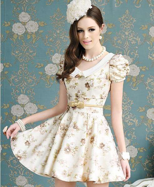 2013 Spring Latest Women Fashion Casual Dress Style Champagne Print    Fashion Casual Dress 2013