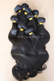 Wholesale Mix length quot quot Brazilian Virgin Remy Hair Weft Natural Color Weave Body Wave g FreeShip