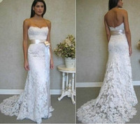 Sleeveless Floor-Length Court Train Hot Sale!Free Shipping Lace Beads Bow Satin Sexy Stretch Wedding Dresses Bridal Dress N1017