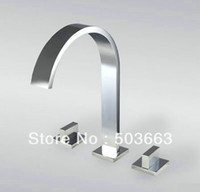 Wholesale 3PCS Fashion Waterfall Faucet Bathtub Chrome Brass Deck Mounted Square Handle Mixer Tap L