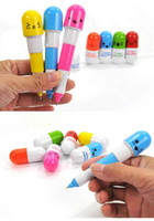 Wholesale ballpoint pen vitamin pills shaped novelty stretch protable Cute face retractable Stationery
