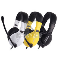 Wholesale Adjustable Wired mm Headphone Headset Microphone For Chat Computer PC Game Yellow White Black