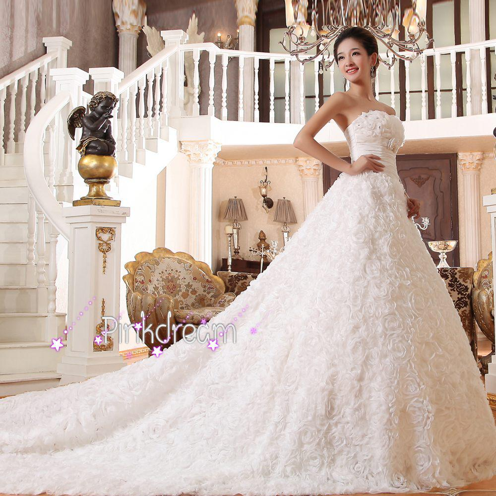 Handmade flower long train bridal dress strapless a line for Long strapless wedding dresses