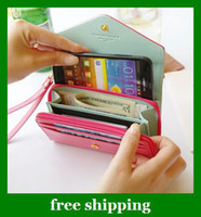 Wholesale PU Leather Crown Smart Pouch mobile phone case pouch donbook bag wallet women gifts