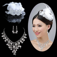 Wholesale Top Sell Bands Clips Net Decoration Crystal Bridal Tiaras Feather Trim Wedding Bridal Hair