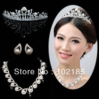Silver pearl trim - Top Sale Pearls Trimming Earrings Elegant Wedding Jewelry Fashion Bridal Necklace Sets