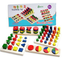 Wholesale colorful educational wooden toy baby early learning teaching toy colors and shapes cognition