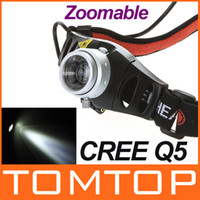 Wholesale Ultra Bright Lumen lm CREE Q5 LED Headlamp Headlight Zoomable flashlight head light H9175 high power
