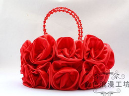 Wholesale Silk Rose Clutches Evening Bag Wedding Bridal Handbags with Pearl Handl Bridemaids Hand Bag Favors