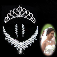 Wholesale Fashion Bridal Earrings Crown Bride Necklace Wedding Bridal Jewelry Bridal Jewelry Set Wedding Jewelry Set