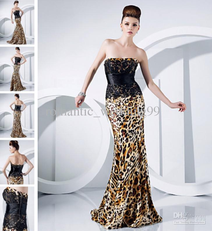 Hot Sexy Leopard Print Mermaid Occasion Evening Dress Strapless ...
