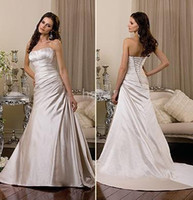 other Strapless other NEW strapless A-line lacing stretch satin chapel train wedding dresses Bridal gown Customize W903