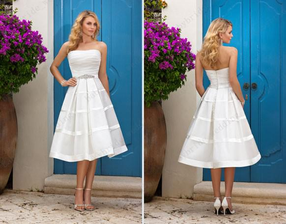 Summer a line short white wedding dresses tea length beach for Short white summer wedding dresses