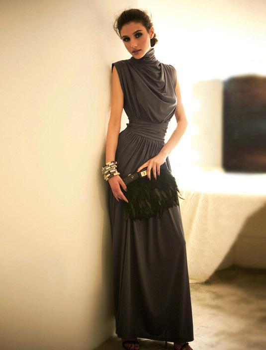 2015 Slim Waist Women Suit Dress Fashion Elegant Turtle Neck ...