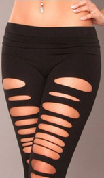 Wholesale Hot Sale Sexy Black slim fit Broken Hole Tear Leggings W3156