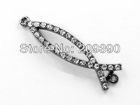 Wholesale Charms Beads Sideway - DIY 30pcs Black Plated Curved Sideway Rhinestone Crystal Jesus Fish Bracelets Connector Charm Beads