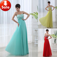 Wholesale Spot Cheap Dresses Sexy Aqua Yellow Red Beads Ruffle Chiffon Long Formal evening dresses gowns Prom dresses