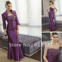 Reference Images other  Plus Size New Sexy Strapless Floor Length Beadings Taffeta Jacket Mother of the Bride Dresses ML002