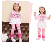 2T-3T Winter Sleeveless children dress 2-6 year baby Braces skirt + T-shirts 2 pieces Bear love yarn patch Kids Clothing