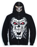Wholesale new hottest men s Hoodies Sweatshirt zipper D skull mask Punk Rock Hip hop black overcoats