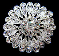 rhodium plated jewelry - Rhodium Silver Plated Alloy and Clear Rhinestone Crystal Round Sn Flower Brooch Jewelry