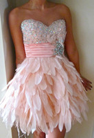 Wholesale 2012 Best Selling Custom Made Sweetheart A line Feather Crystals Short Sparkly Homecoming Dresses