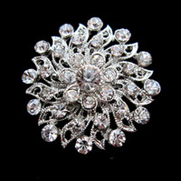 Wholesale Beautiful Silver Color Clear Rhinestone Crystal Small Flower Pin Brooch