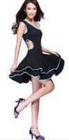 al por mayor monedero corto-Vestidos Faldas Latina Rumba Chacha Vestidos dancewears muchachas de fiesta Vestidos Vestidos de tango de la salsa cortaron el rizó los vestidos latinos Rojo Azul Rosa